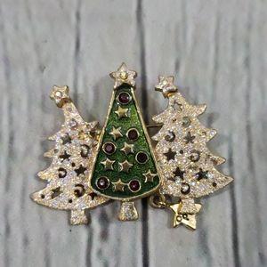 CHRISTMAS TREE TRIP BROOCH GLITTER RHINESTONE